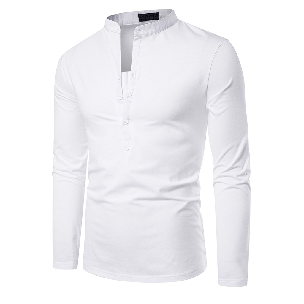 Men's V-neck Long-sleeved POLO Tops Solid Color Casual Button Slim Fit Turn-Down Collar Long Sleeve Top Blouse Shirt#LR1