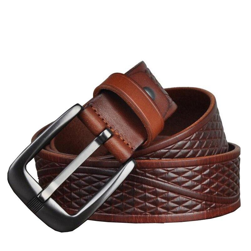 Image 5 - Western Genuine Leather Print Business Pin Buckle Men Belt Vintage Cow Leather Jeans Causal Pants Men BeltMens Belts   -