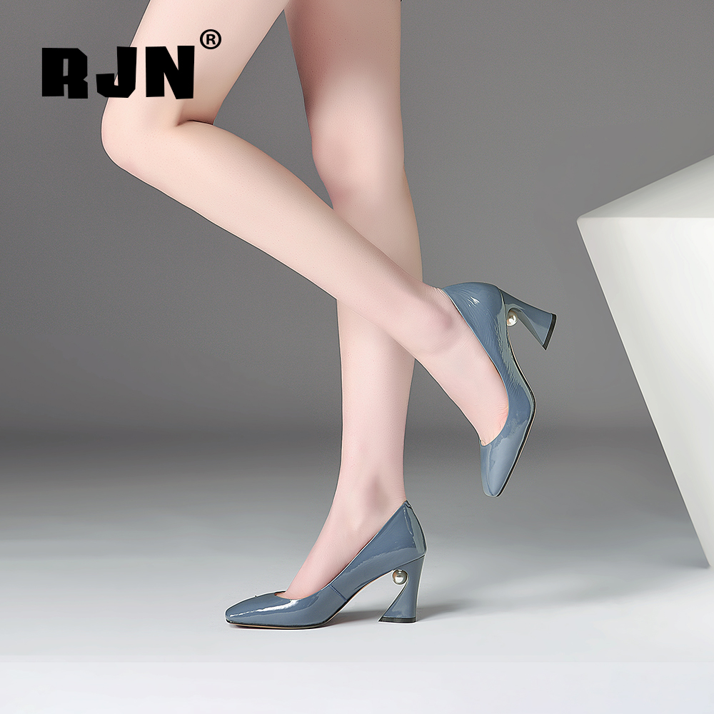 Promo RJN Elegant Square Toe Pumps Pearl Decoration Patent Leather Strange Style Heel Slip-on Shoes Fashion Women Pumps For Party RO51