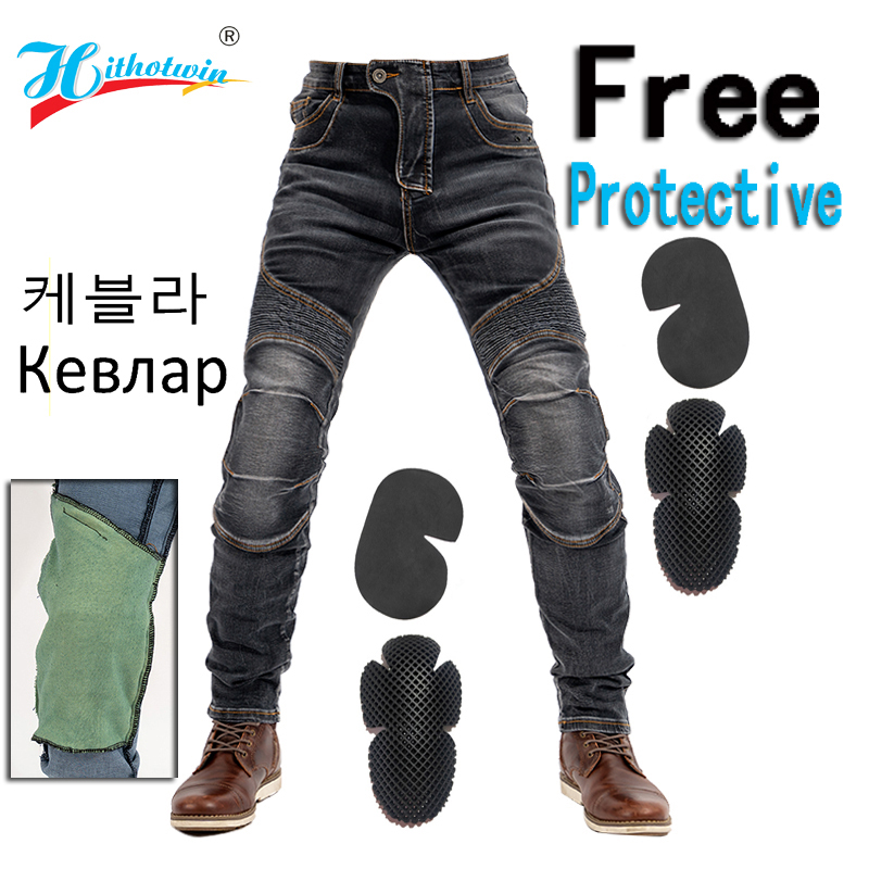 Hithotwin Hi03 Aramid Motorcycle jeans Men s Off-Road Motocross trousers Moto pants leisure riding pants with 4 Protective gear