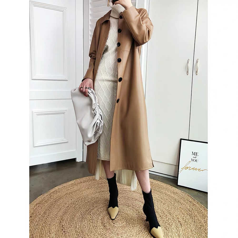 Genuine leather jacket women 2019 winter clothes women real sheepskin coat long trench coat female luxury overcoat