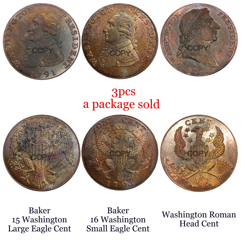United States Washington President 1791 Baker 15 Large Eagle Cent 16 Small Eagle Cent 1792 Roman Head Cent Red Copper Copy coins|Non-currency Coins| |  - title=