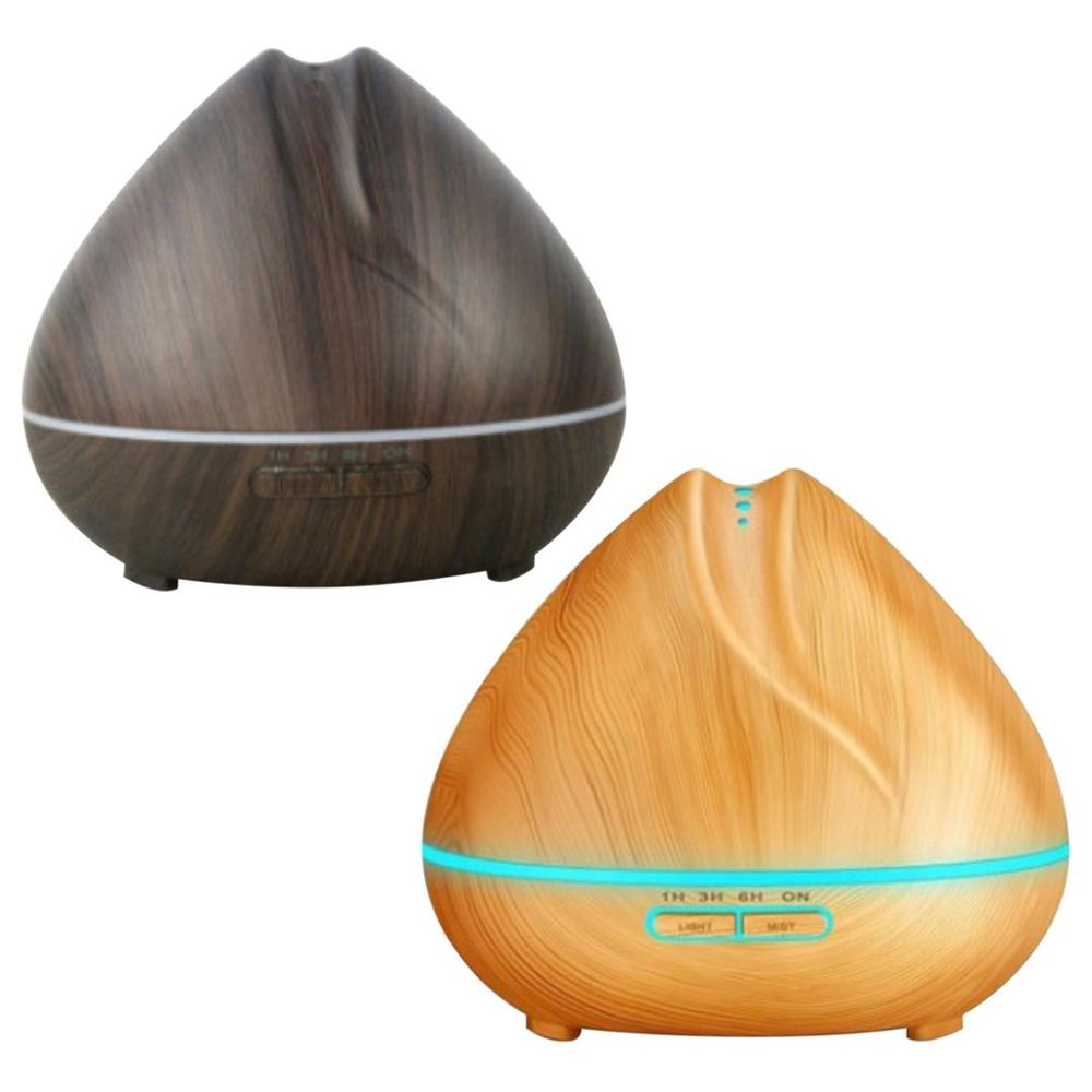 Peach Shaped Air Humidifier Ultrasonic Aroma Essential Oil Diffuser 550Ml Aromatherapy Machine Wood Grain Color Changing