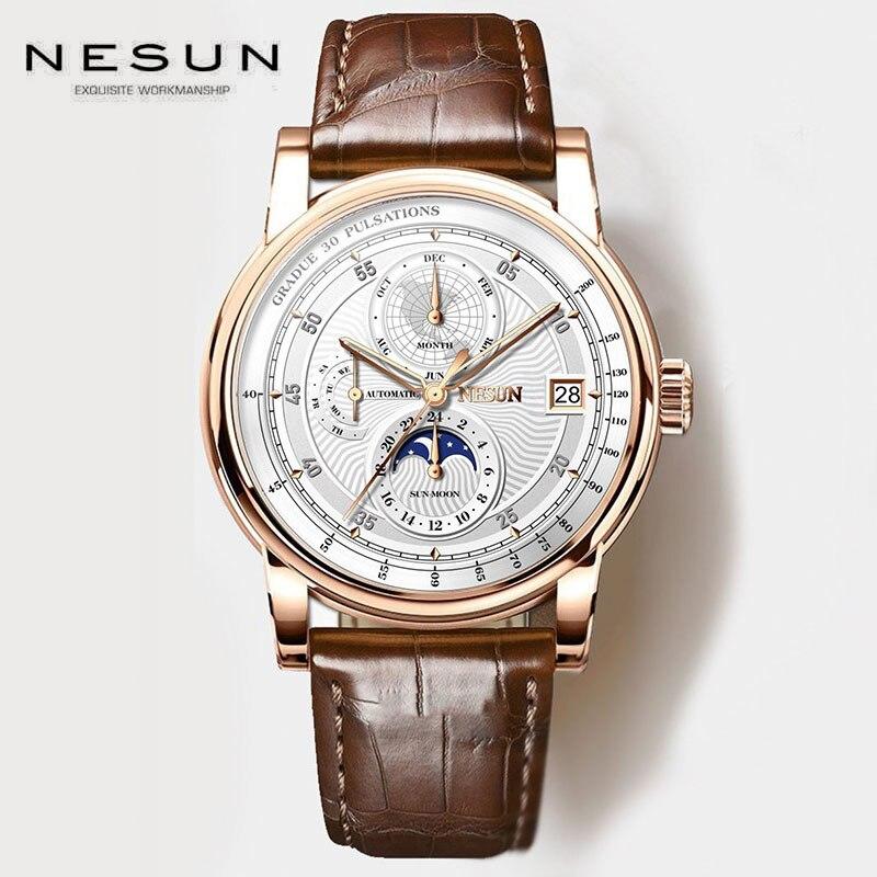 AAAA Nesun メカニカルレザーメンズ腕時計 2019 パイロットビジネスラグジュアリーカジュアルビッグ自動腕時計メンズ防水レロジオ Masculino -