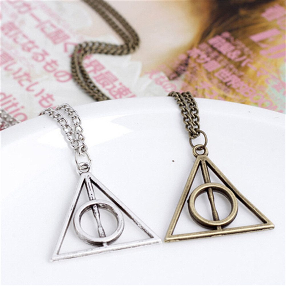Hallows Pendant Toys Necklace Retro Triangle Round Sweater Chain Luna and the Deathly Action Toy Figures