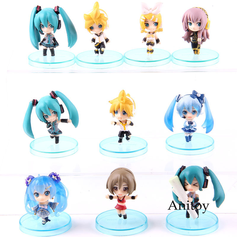 Hatsune Miku Snow Miku <font><b>Kagamine</b></font> <font><b>Rin</b></font> and Len Meiko Luka Vocaloid Action <font><b>Figure</b></font> PVC Collectible Model Toys Pendants 5pcs/set image