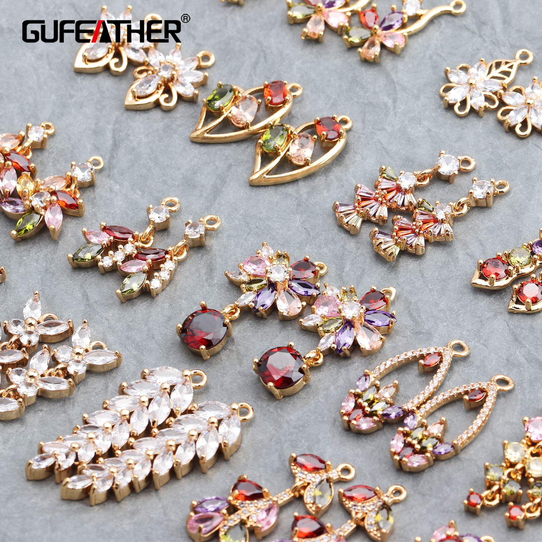 GUFEATHER M593,jewelry Accessories,18k Gold Plated,diy Zircon Pendant,hand Made,ear Chain,diy Earrings,jewelry Making,6pcs/lot