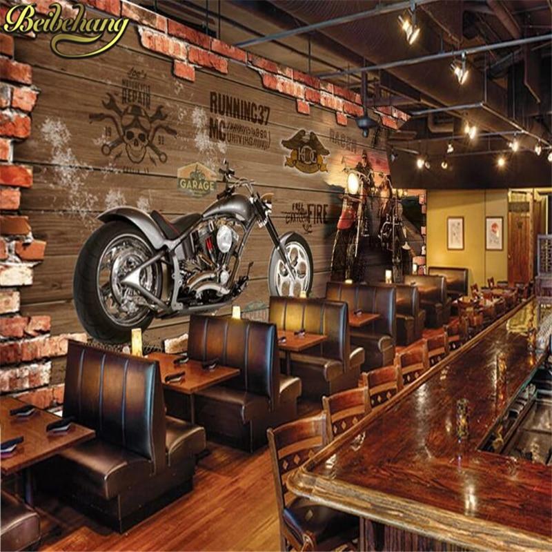 Beibehang Papel De Parede Custom Photo Wallpaper 3D Retro Motorcycle Nostalgic Brick TV Background Wall Home Decoration Mural