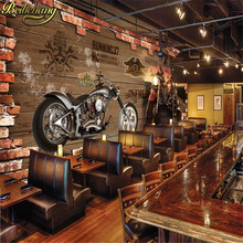 Papel de pared beibehang papel de pared personalizado papel tapiz 3D Retro motocicleta nostálgico ladrillo TV Fondo pared decoración del hogar mural