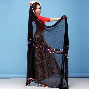 Image 5 - Kobiety taniec brzucha szalik Malaya duży rozmiar rzucony szaliki Sequine zdobione połysk rekwizyty sceniczne czarne czerwone welony