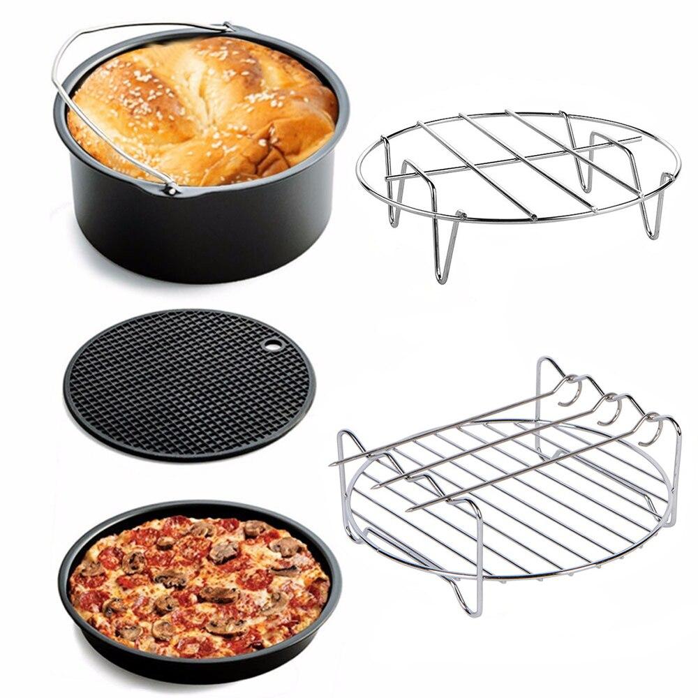 5Pcs Air Fryer Accessories Set Cake Chip Baking Barrel Pizza Pan Skewer Rack