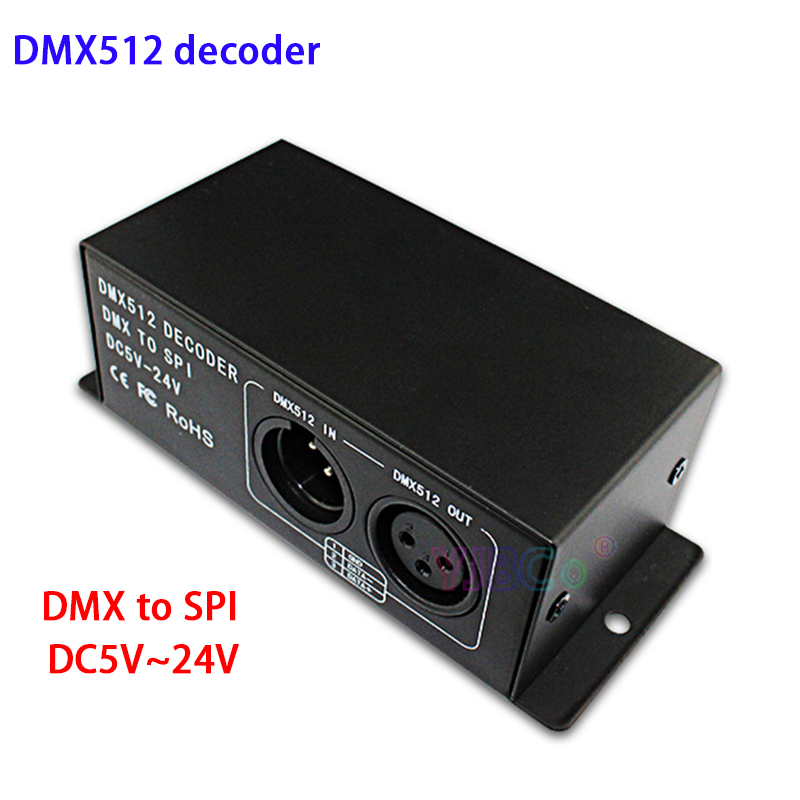 <font><b>led</b></font> module <font><b>controller</b></font> DC 5V~24V Full color DMX 512 Decoder <font><b>led</b></font> strip dimmer DMX to SPI support <font><b>WS2811</b></font> WS2812 WS2801 6803 IC image