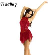 TiaoBug kadınlar Halter parlak pul düzensiz örgü Splice artistik patinaj elbise bale jimnastik Leotard lirik dans kostümleri
