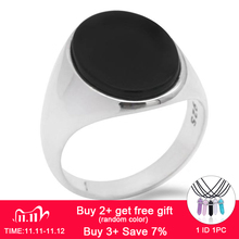 925 Sterling Silver Men Ring with Black Natural Onyx Stone Ring Thai Silver Simple Design for Man Women Turkish Jewelry