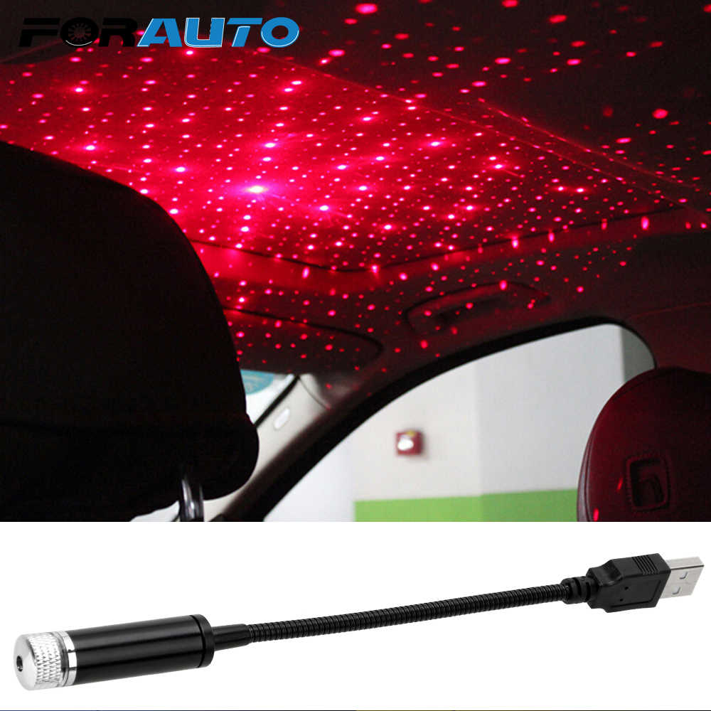 FORAUTO LED Car Roof Star Light Projector Ambient Star Light Car USB LED Atmosphere Lamp Adjustable Multiple Lighting Effects