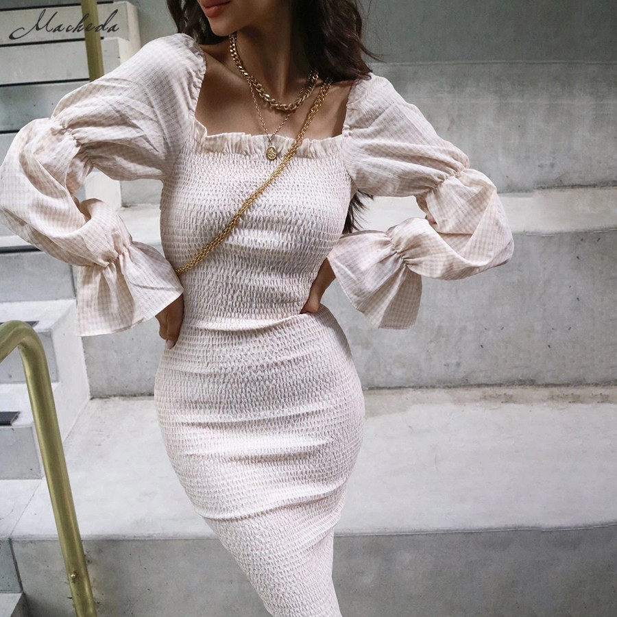 Macheda Autumn Long Sleeve Slash Neck Dresses Women Ruffles Elegant Bodycon Midi Dresses Lady Slim Pleated Casual Clothing 2019