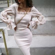 Macheda Autumn Long Sleeve Slash Neck Dresses Women Ruffles Elegant Bodycon Midi