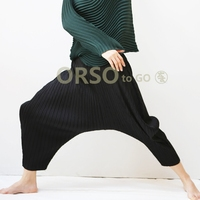 Issey Miyake Women High Quality Pants Female Casual Harem Pants European Style Elastic Waist Calf length Trousers