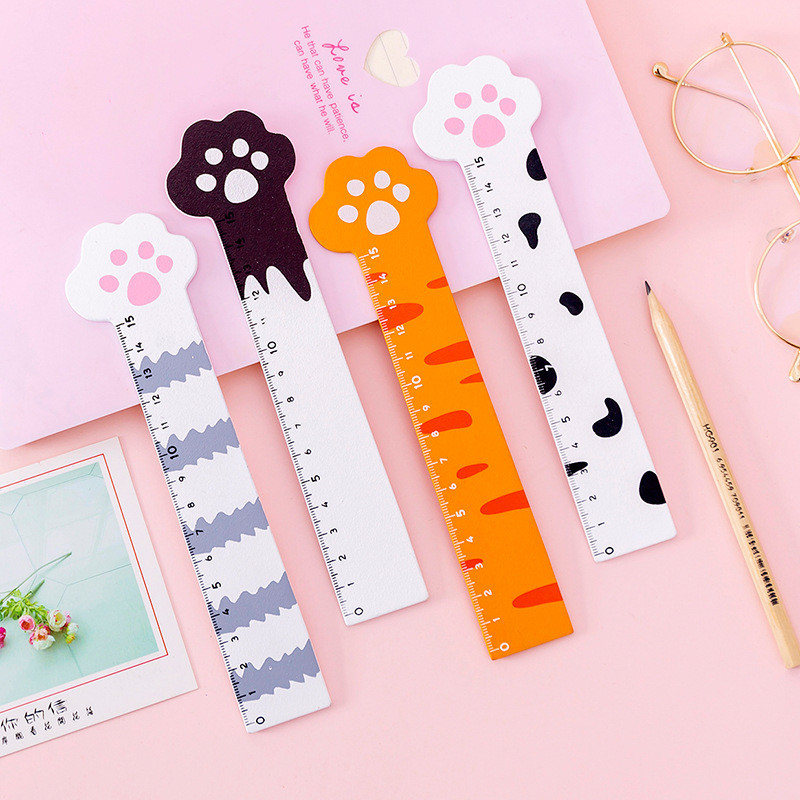 Cute Heart Cat Claw Wooden Ruler 15cm Scale Wood Rules Children's Gifts Drawing Student Prize Measuring Tools Korean Stationery