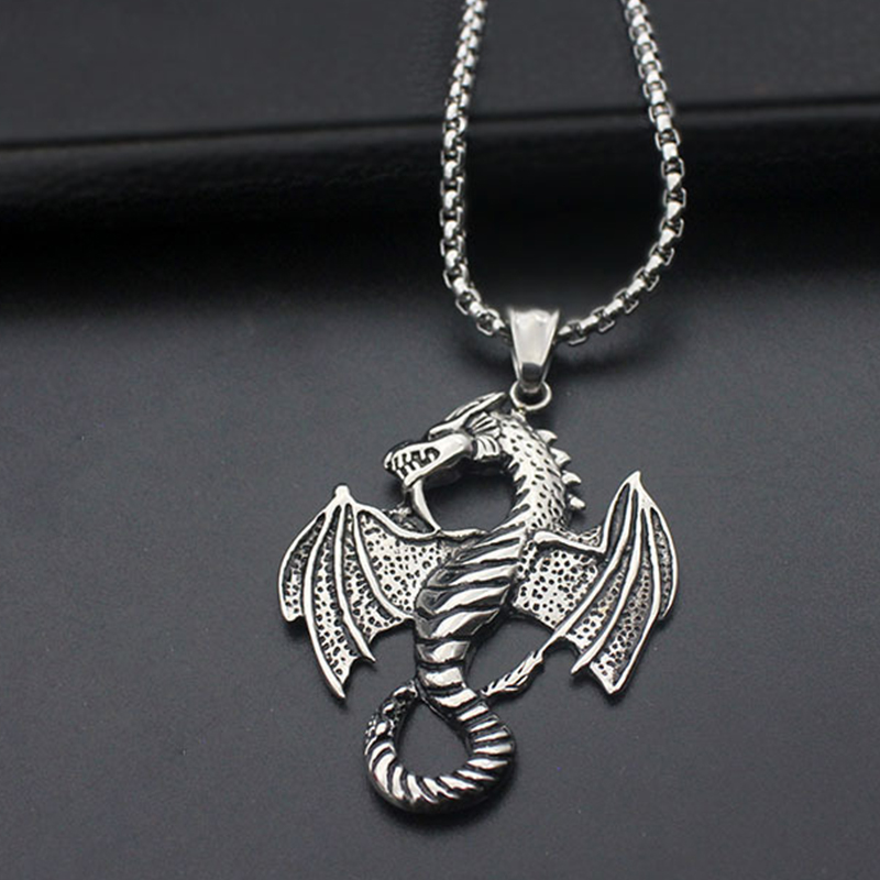 oulai777 men dragon necklaces pendants wholesale stainless steel chain personalized punk Accessories Handmade retro