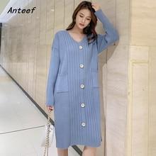 long sleeve knitted cotton vintage plus size women casual  midi autumn winter Sweater dress elegant clothes 2019 ladies dresses