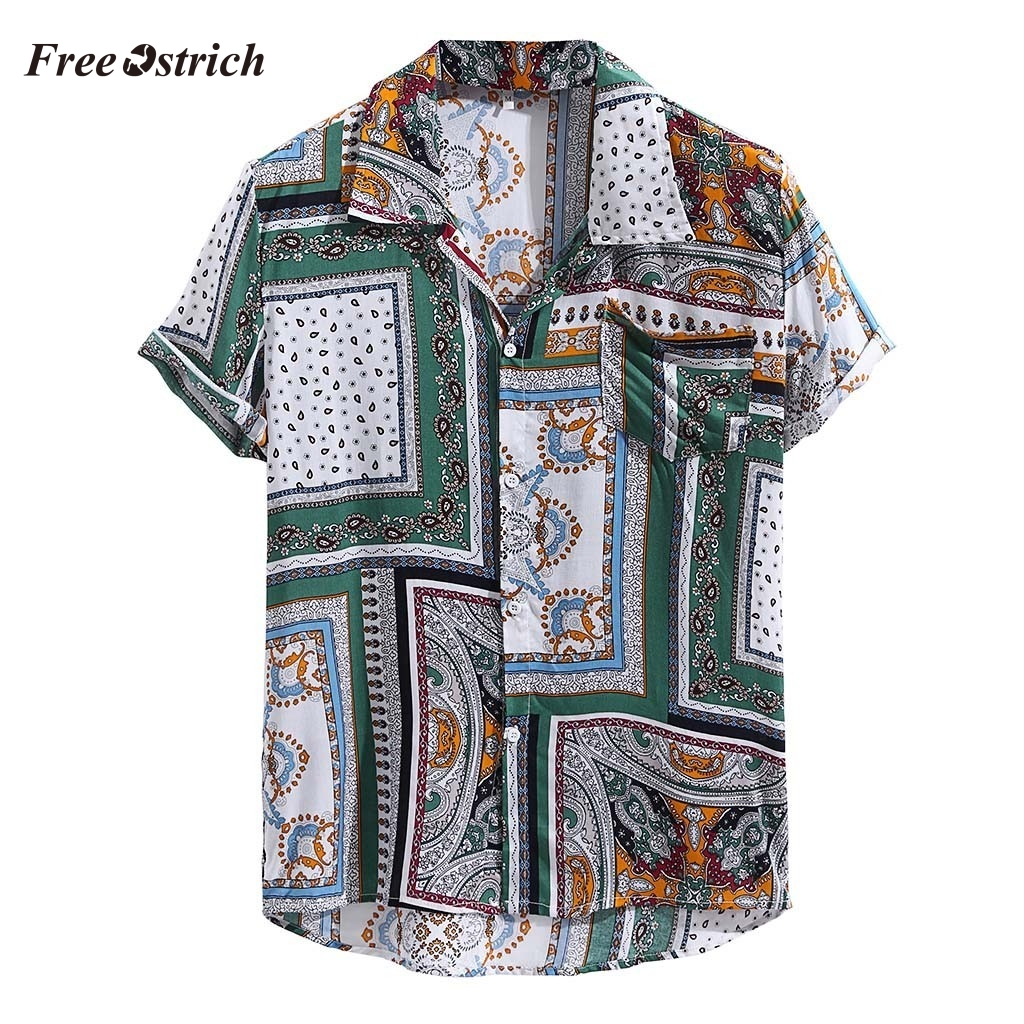 Free Ostrich Men Shirts Short Sleeve 2019 Mens Vintage Ethnic Printed Turn Down Collar Short Sleeve Loose Casual Shirts 91128
