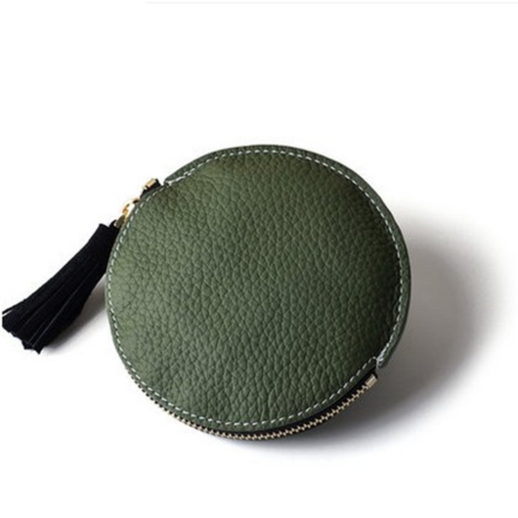 Women's Circle Mini Coin Bag Cute Korean-style Genuine Leather Wallet Embossed Leather Hipster Lock Purse