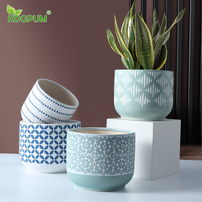 Modern Handmade Ceramic Vase Nordic Green Plant Relief Personality Hydroponic Flower Set Flower Pot Home Decoration Ornaments