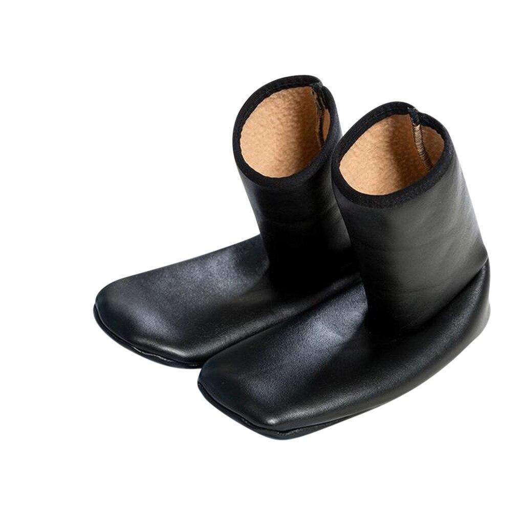 Осенне-зимние кожаные носки унисекс, простые женские утепленные кожаные носки средней длины, стильные утепленные Повседневные носки для до...