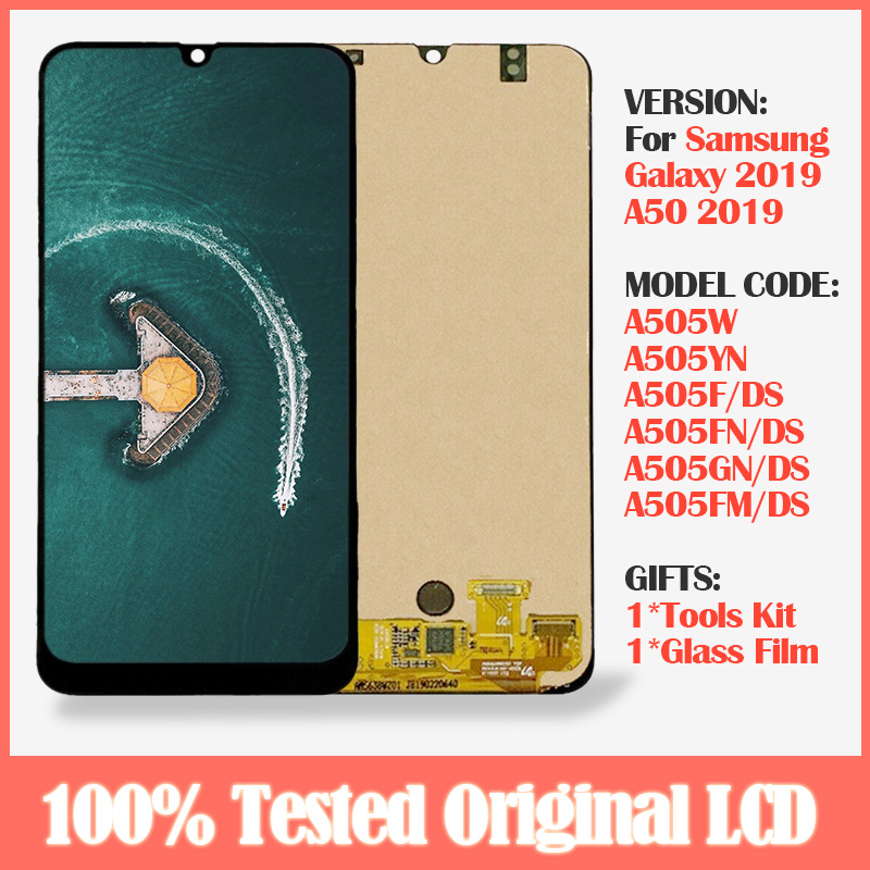 Original Display For <font><b>Samsung</b></font> Galaxy <font><b>A50</b></font> SM-A505F/DS A505W <font><b>LCD</b></font> +Touch Screen Digitizer Assembly With Frame For <font><b>Samsung</b></font> <font><b>A50</b></font> <font><b>lcd</b></font> image