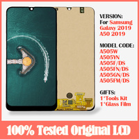 Original Display For Samsung Galaxy A50 SM A505F/DS A505W LCD +Touch Screen Digitizer Assembly With Frame For Samsung A50 lcd