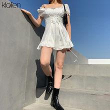 KLALIEN moda zarif yay beyaz kadın mini elbise yaz parti doğum günü festivali sevimli seksi fransız romantik ipek elbise kadın