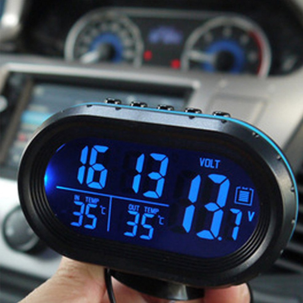 2 in 1 12V / 24V Digital Auto Car Thermometer + Car Battery Voltmeter Voltage Meter Tester Monitor + electronic Clock hot sale