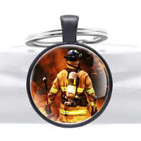 Classic Brave Firefighter Emergency Rescue Keychains Fashion Glass Dome Key Rings Gifts