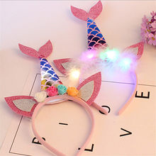 Kids Halloween Mermaid Glow Head Buckle Children Stage Performance Props LED Color Fish Scale Tail Headband(China)