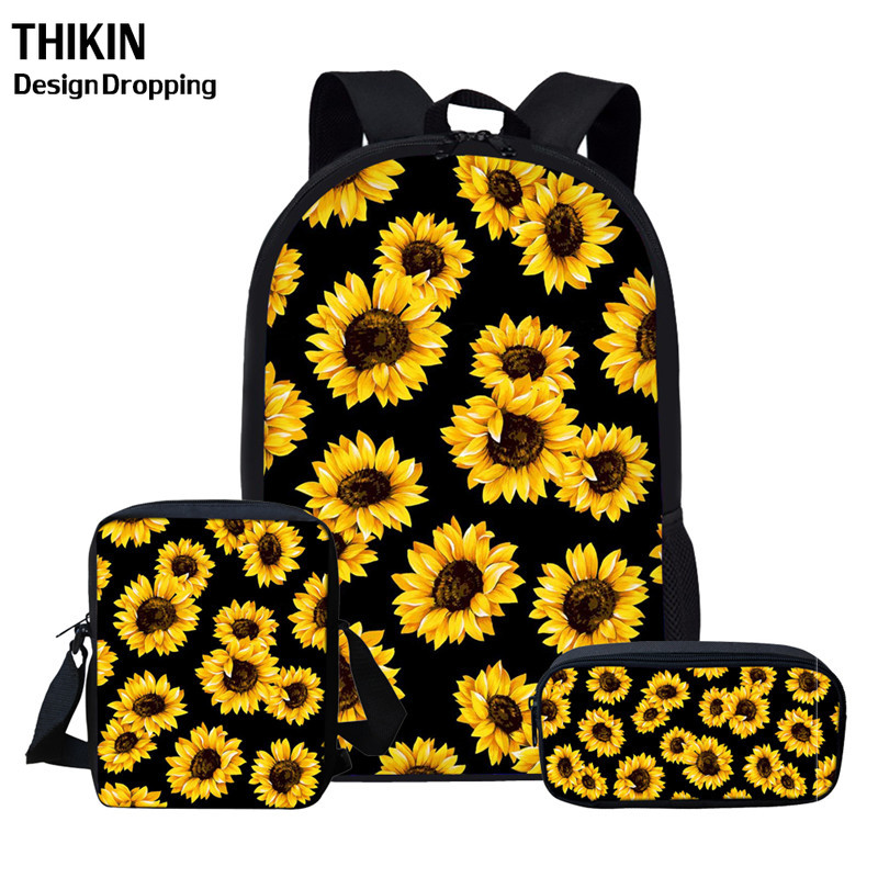 THIKIN Cartoon Sunflowers Travel Women Backpacks Teen Girls School Bags Set 3PCS Kids Book Bags Children School Mochila Escolar