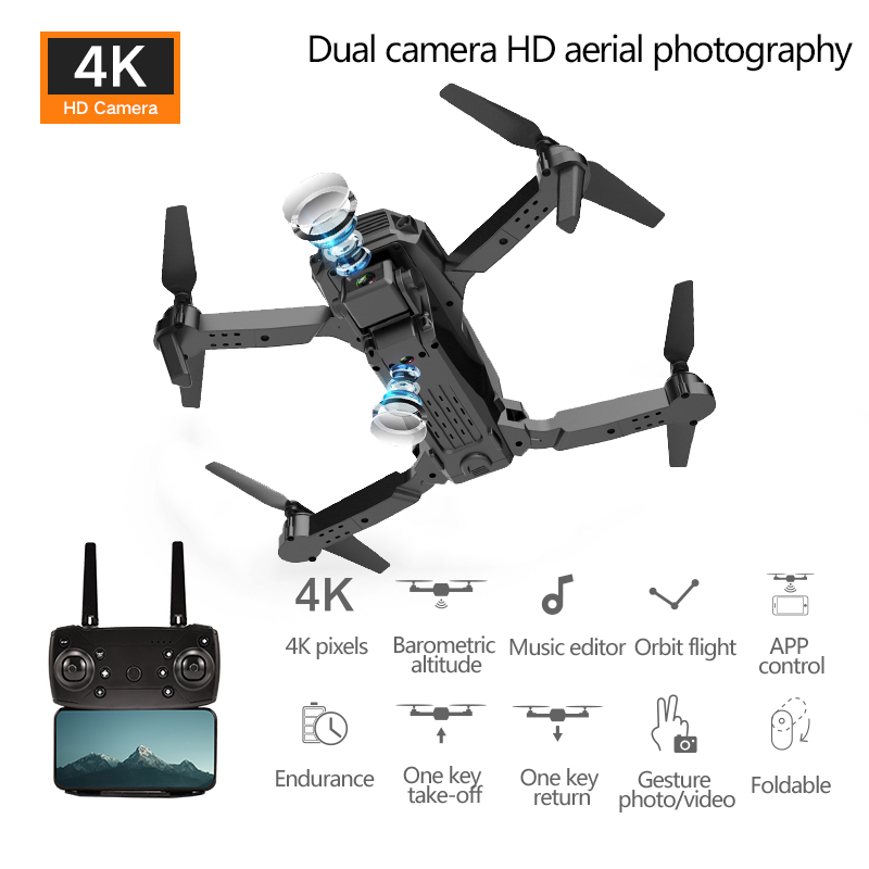 RC Foldable Mini Drone Dual HD Cameras Quadcopter With Wide Angle HD 4K Camera Long Battery Life RC Helicopter Kids Drone E100