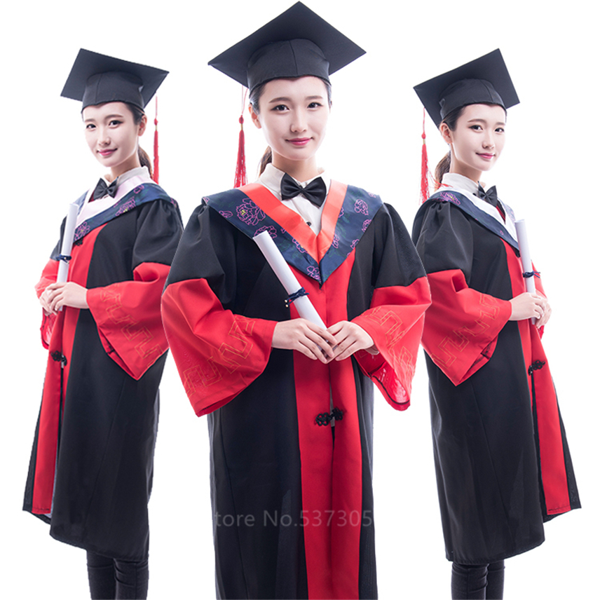 High School Graduation Student College Students Uniform Academic Dress University Class Collective Photography Gown With Hat