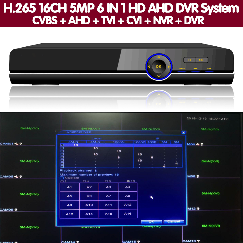 16CH 5MP Alarm Audio Gesicht H.265 DVR NVR Sicherheit System Hybrid Video Recorder P2P 1080P 5MP CVBS TVI CVI IP AHD Kamera Onvif