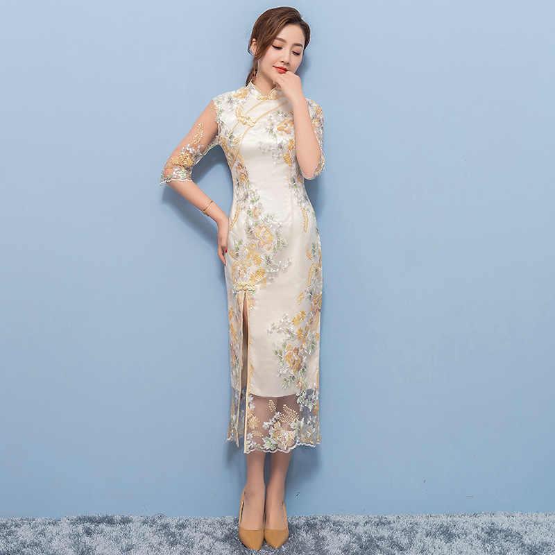 Cheongsam qipao elbise yüksek bölünmüş seksi zarif kadın uzun Cheongsam Vintage nakış çiçek Qipao artı boyutu çin elbisesi