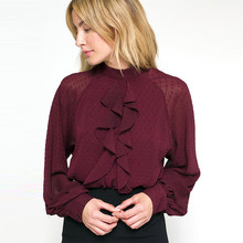 2019 Autumn winter elegant Stand collar pullover long Lantern sleeves Wine red Ruffle chiffon blouse tops lady office blouse