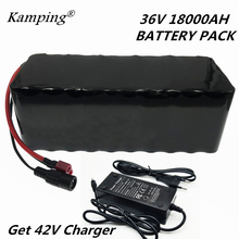 цена на NEW 36V 18AH electric bicycle battery built-in 20A BMS lithium battery pack 36 volt 2A charging Ebike battery + charger