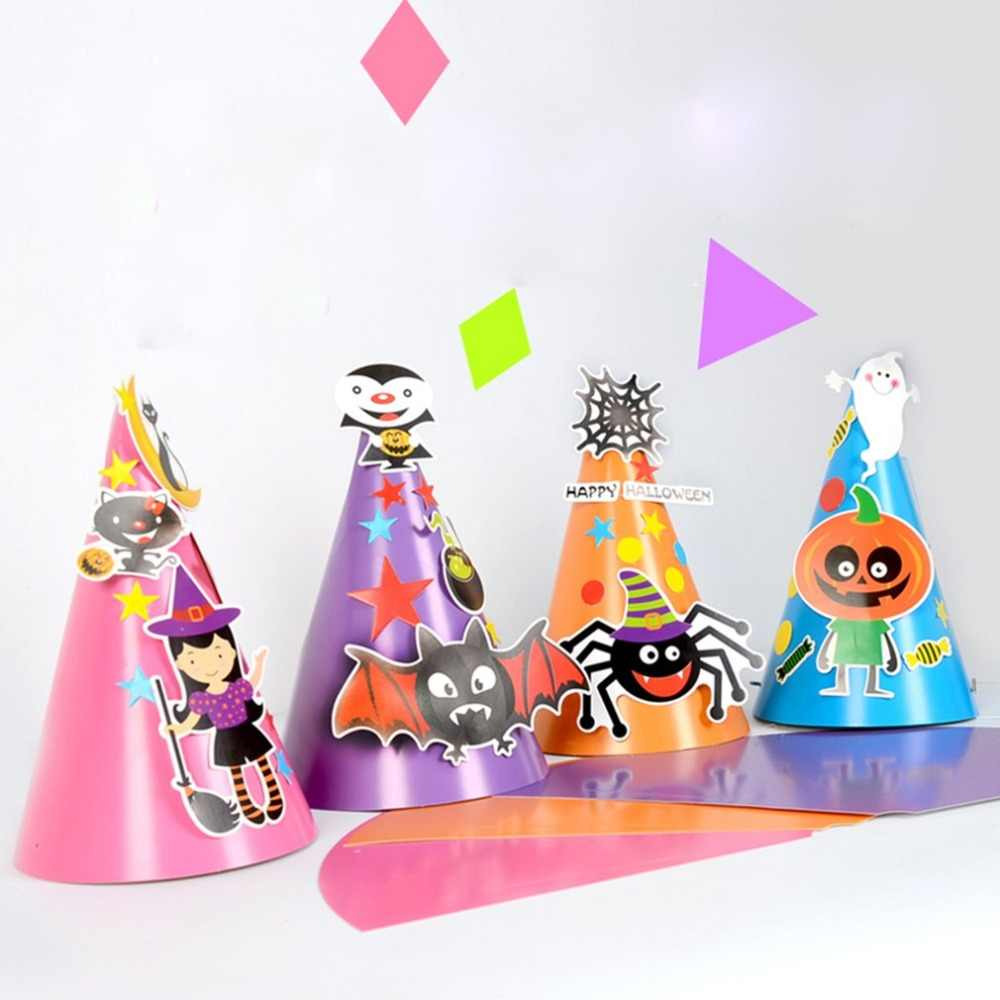 New Boy Girl Kids Children DIY Halloween Hat Witch Wizard Hat Stars Fancy Magician Caps Halloween Costumes Free Drop Shipping