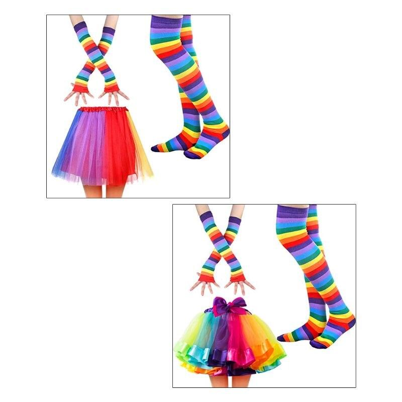 Women Rainbow Costume Sets Girls Long Gloves Socks Stocking And Tulle Skirt