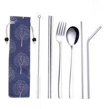 Новая серебряная нержавеющая сталь креативная титановая покрытая Экологически чистая портативная посуда 304 ложка из нержавеющей стали Палочки для еды