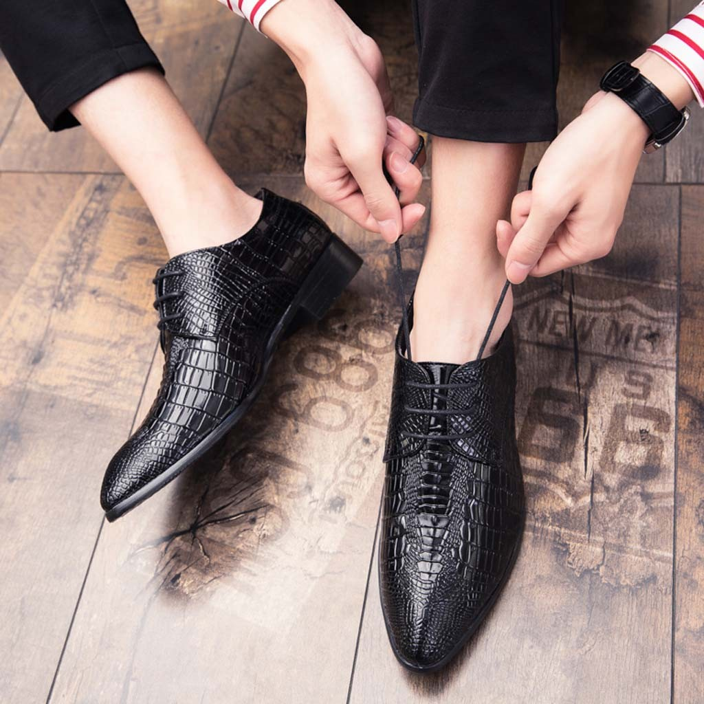 Fashion Leather Shoes Men Dress Shoe Pointed Oxfords Shoes For Men Lace Up Designer Luxury Men Formal Shoes Nice  7.11