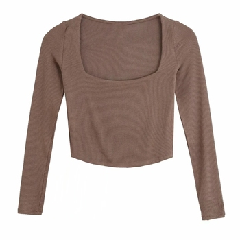 Autumn Women Square Collar Knitting Short T Shirt Casual Femme O Neck Long Sleeve Crop Tops T1380 1