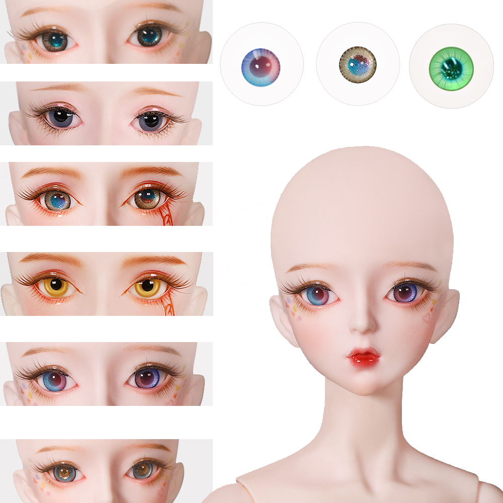 <font><b>BJD</b></font> Eyeball 14mm Glass material Green Blue eyes suitable for DBS <font><b>1/3</b></font> DF doll Accessories AS doll <font><b>SD</b></font> doll girl boy gift toy image