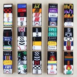 Socks spring autumn Kawaii off white cotton trend letter pattern breathable long socks harajuku street personality couple socks