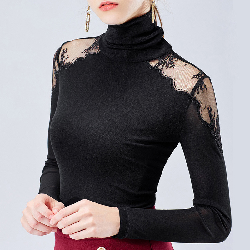 Latin Dance Top Lady Winter Black Long Sleeve Turtleneck Shirts Rumba ChaCha Samba Tango Salsa Practice Performance Wear DN4403